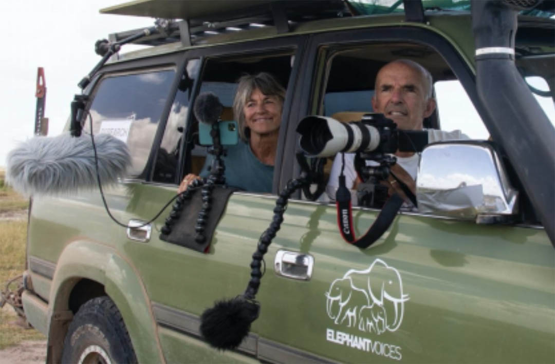 Joyce and Petter filming and recording elephants in Amboseli for The Elephant Ethogram in 2020.  Photo: Thomas Stafford