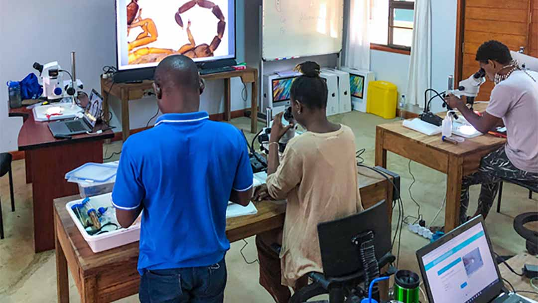 Mozambican Students attend a workshop in the E.O. Wilson Laboratory at Gorongosa National Park. Mozambique